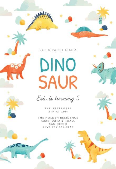 Dinosaur Adventure Birthday Invitation Template Free Greetings