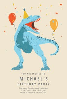 dinosaur fiesta birthday invitation