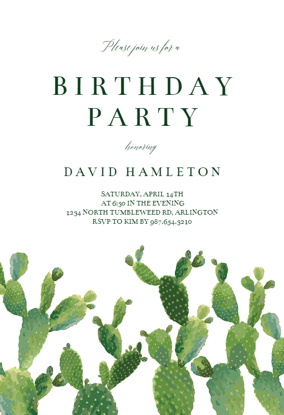 Elegant Cactus Birthday Invitation Template Free