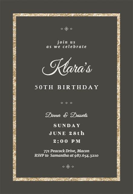 Elegant Gold Birthday Invitation Template Free Greetings Island