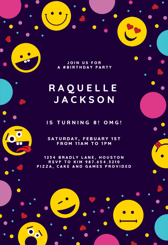 image relating to Free Printable Emoji B Day Invites called Youngsters Birthday Invitation Templates (Absolutely free) Greetings Island
