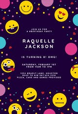 Emoji Confetti - Birthday Invitation