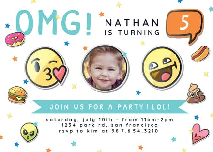Emoji Face Birthday Invitation Template Free Greetings
