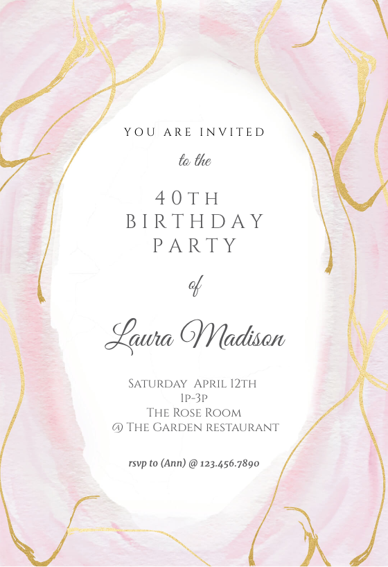 Falling Gold Confetti Birthday Invitation Template Free