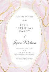 Falling Gold Confetti - Birthday Invitation