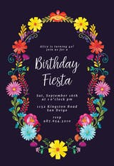 Fiesta Flower Wreath - Birthday Invitation