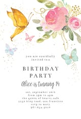 Floral butterflies - Birthday Invitation