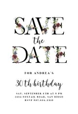 Floral Letters - Birthday Invitation