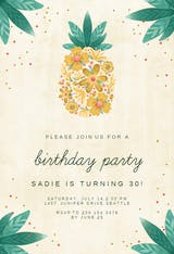 Floral pineapple - Birthday Invitation