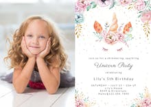 Floral unicorn photo - Birthday Invitation