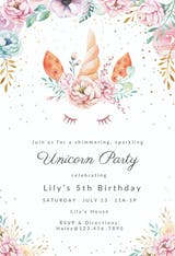 Floral unicorn - Birthday Invitation