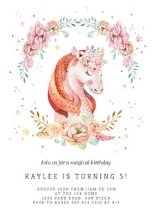 Floral wreath unicorn - Birthday Invitation