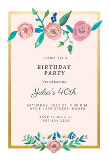 Flower on Gold - Party Invitation