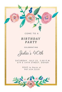Flower on Gold - Birthday Invitation