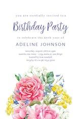 Flowered Ice Cream Cone - Invitación De Cumpleaños