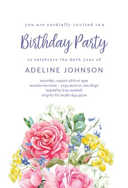 Flowered Ice Cream Cone - Party Invitation