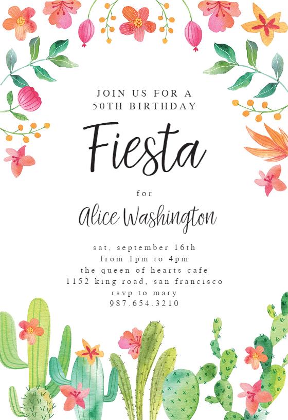 image regarding Free Printable Fiesta Invitations called Flowerly Fiesta - Birthday Invitation Template (no cost