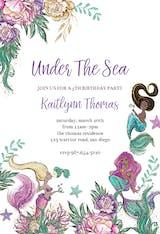Flowers And Mermaids - Birthday Invitation