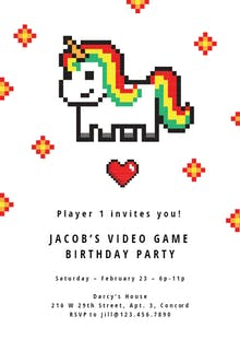 Gamer Unicorn - Birthday Invitation