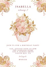 Glitter Cupcake - Birthday Invitation