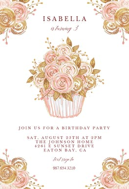 Glitter Cupcake - Party Invitation