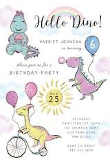 Glitter Dinosaur - Birthday Invitation