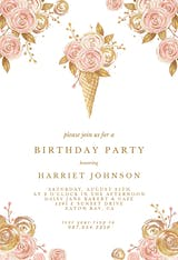 Glitter Ice Cream Flowers - Birthday Invitation
