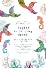 Glitter Mermaid Tail - Birthday Invitation