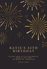 Golden fireworks - Birthday Invitation
