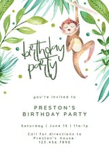 Hanging monkey - Birthday Invitation