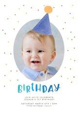 Hat & polka dots - Birthday Invitation