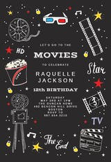 Hollywood movies - Birthday Invitation