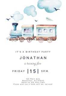Illustrated train - Birthday Invitation