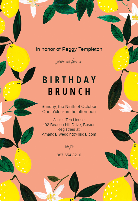 Lemons Birthday Invitation Template Free Greetings
