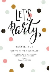 Lets Party - Birthday Invitation