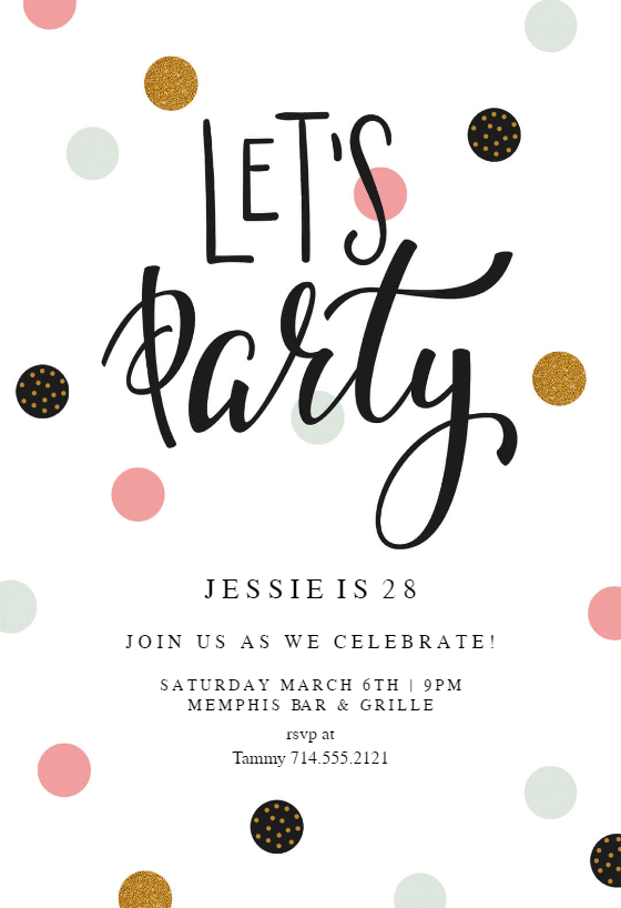 Lets Party   Birthday Invitation Template  Free Birthday Invite Template