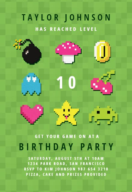 video game party birthday invitation