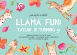 Llama Fun - Birthday Invitation