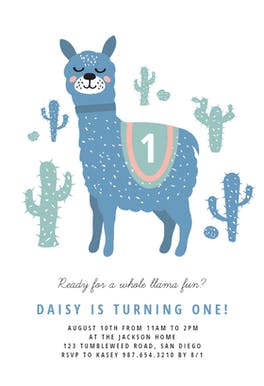 Llama - Birthday Invitation