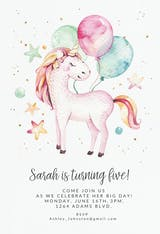 Loveable unicorn - Birthday Invitation
