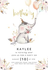 Lovely Elephant - Birthday Invitation