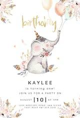 Lovely Elephant - Invitación De Cumpleaños