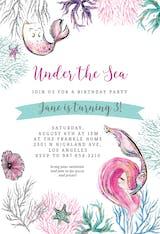 Mermaid Glitter Cat - Birthday Invitation