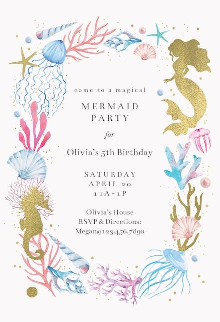 Mermaid Invitation Templates Free Greetings Island