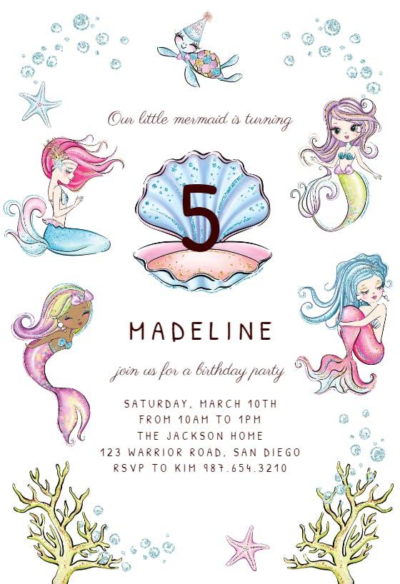 Printable Pdf Mermaid Party Invitation Cute Mermaid on seahorse invitation Girl pool party invites. EDITABLE