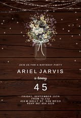 Monogram wood - Birthday Invitation