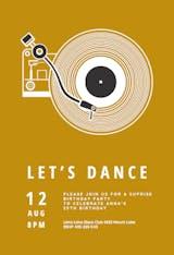 Music record player - Birthday Invitation