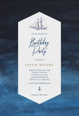 Nautical Yacht - Birthday Invitation