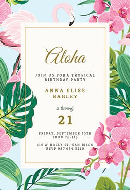 Orchids & Flamingo - Birthday Invitation