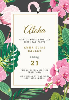 Orchids & Flamingo - Pool Party Invitation